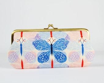 Eyeglass frame purse - Good luck blue - Long purse / Eyeglass fabric case / Cell phone holder / Cotton and Steel / butterflies / Pink red