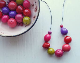 that's my jam - necklace - remixed vintage lucite - pink red chartreuse jeweltones