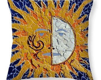 Southwestern Throw Pillow From Original Mosaic Artwork 18 x 18 Inches Ready to Ship