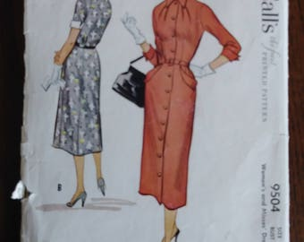 McCall's 9504 1950s Women's Slim Dress Pattern Size 20 Bust 38 POCKETS! 1953