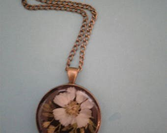 Pressed Flower Pendant Necklace Antique Bronze Pendant