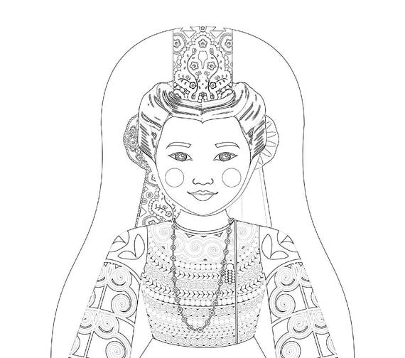 French Bigoudène Doll Traditional Dress Coloring Sheet Printable