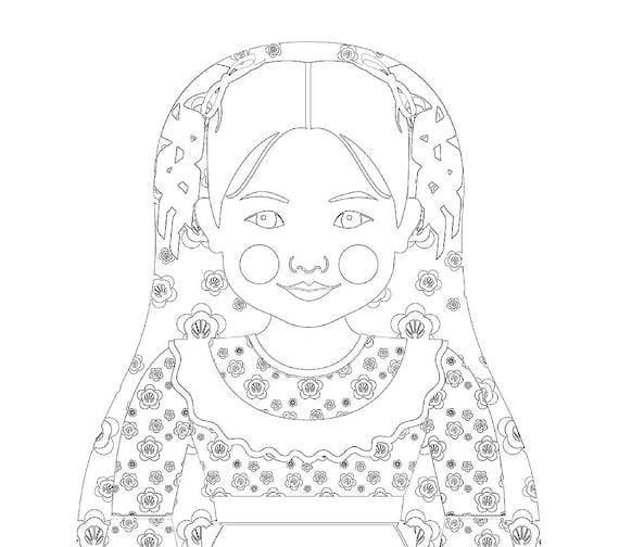 Chilean Doll Traditional Dress Coloring Page Printable Matryoshka