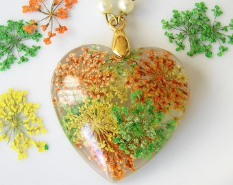 Resin Necklace Real Flower Jewelry Heart Necklace Resin Jewelry Pressed Flower Necklace Valentines Gift