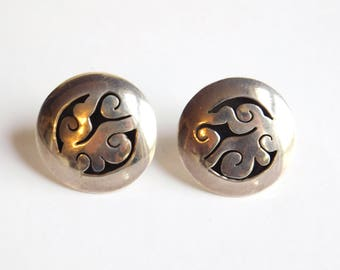"Vintage Signed Mexican Sterling Silver ""Calar"" Earrings - 1980s Modernist Style - Abstract Cut-Out Design - Button Earrings - Post, Pierced"