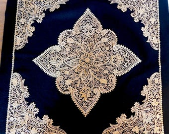 "Vintage Kashmir-Style Ornate Embroidery Piece - Gold Silk on Black Felt - For Wall Hanging or Pillow Top - Ethnic Needlework - 18.75"" Square"