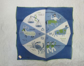 Vintage Tammis Keefe New Handkerchief Astrology New with tag