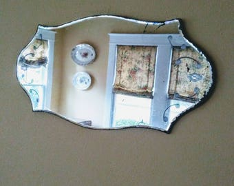 Curvy and Etched Vintage Frameless Mirror