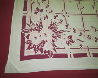 Vintage 1950s Cotton 48x51 Kitchen Tablecloth Pink and Maroon Floral Design