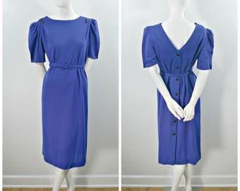 Vintage Knit Dress, 80s Blue Knit Button Back Dress, Knee Length Blue Black Belted Short Sleeve Dress, Summer Weight Blue Knit Dress Size L