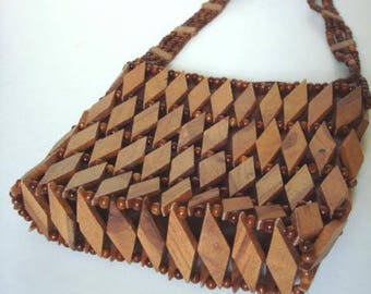 Vintage 70s Wood Purse Diamond Wood Beads Shoulder Bag