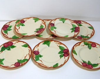 "Franciscan Apple Bread Plates, 6 1/4"" diameter, Set of Eight"