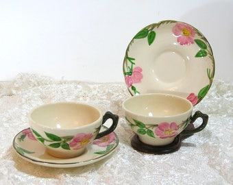 Franciscan Pink Dogwood Cups And Saucers, Set Of Two