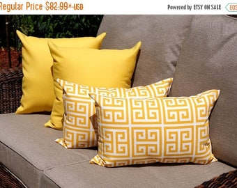 Yellow Outdoor Throw Pillow  - Sundeck Yellow and Towers Citrus Yellow Outdoor Throw Pillow free shipping