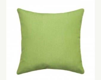 Green Outdoor Pillow, Sunbrella Canvas Macaw Outdoor Pillow, Green Sunbrella Throw Pillow, Green Sunbrella Cushion Free Shipping 5429-0000