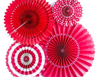 Red Basic Party Fans - Party Paper Fans - Red Party Decor - Paper Fan Backdrop - Red Backdrop - Red Pinwheel - Paper Rosettes -  Red PGB208