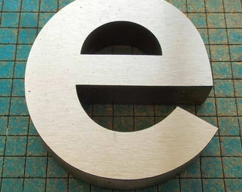 """Big Block Letter - e - from vintage sign,  MDF  with aluminum overlay,  4 5/8"""" tall, repurpose, upcycle, recycle,"""