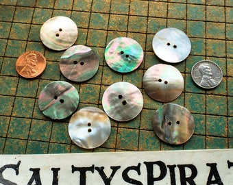 Mother of Pearl buttons, 50 count, 1 inch, Natural shell buttons, 25mm, 2 hole, nacre buttons, sewing, crafting, scrapbook