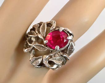 Ruby Ring, Sterling Silver, Vintage Ring, Abstract Vine, Brutalist, Studio, Wax Cast, Size 6 3/4, Statement Ring, Modernist, Rustic Organic