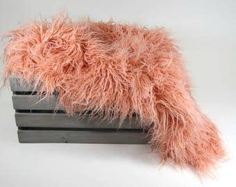 RTS Hypoallergenic & Washable Faux Flokati, Peach Sheep Faux Fur Newborn Photo Props, Artificial Fur, Baby Photography Props, Basket Stuffer