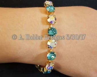 Crystal Bracelet - Turquoise and Crystal AB Chatons - 8 mm stone size