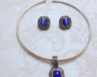 Vintage Silver Tone Wire Collar Necklace Blue Stone Pendant & Earrings Pierced