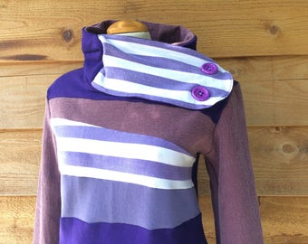 Hoodie Sweatshirt Sweater Handmade Recycled Upcycled One of a Kind GRAPE WAVES Ladies MEDIUM - Pockets Purple Stripes