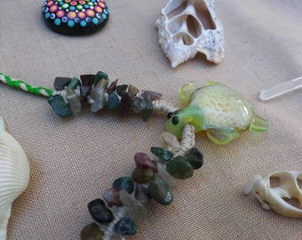 Terrapin turtle glass hemp necklace