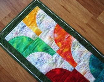 Quilted table runner contemporary abstract modern rainbow with green
