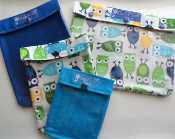 Ouch Pouch 4 Sizes 'Clear Pocket' Travel Carry On Airport Friendly First Aid Medications Diaper Bag Inserts - Blue/Green Owls