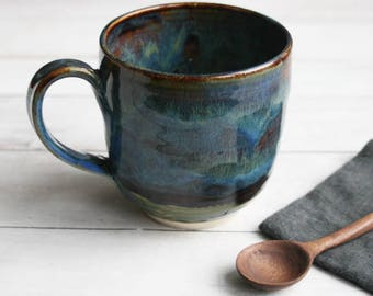 Stoneware Mug with Dripping Rich Brown and Blue Glazes Handmade Stoneware Coffee Cup 15 oz. Made in USA Ready to Ship