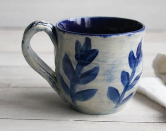 Small Coffee Mug in Natural White and Navy Blue Glaze with Floral Motif Design Pottery Mug 10 oz. Made in USA Ready to Ship