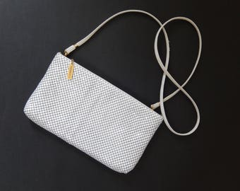 Whiting & Davis purse, white metal mesh, clutch/shoulder bag, bags and purses
