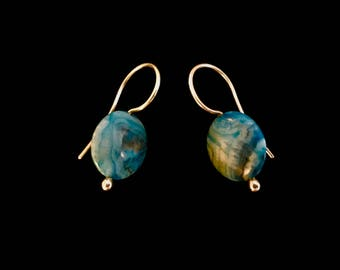 Blue Sky Jasper Coin Beads with Argentium Sterling Silver Hand Made Ear Wires