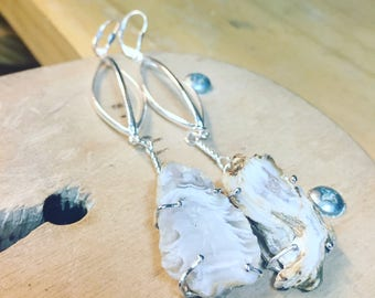 Geode Drusy Sterling Silver Earrings