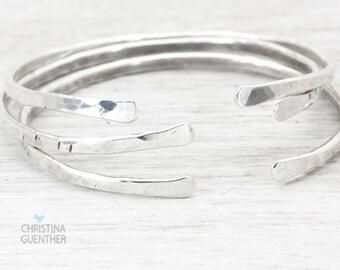 Sparkle Silver Bangle, Stacking Bangles, Adjustable Silver Bracelet, Personalized Hand Stamped Bracelet, Bridesmaid Gift, Christina Guenther