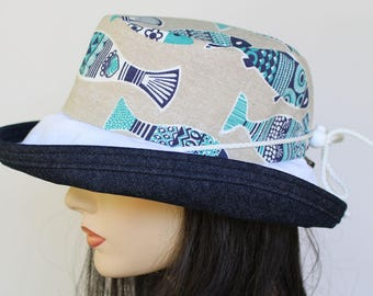 Sunblocker UV summer hat sun hat with large wide brim featuring lovely Portugal sardines print and adjustable fit