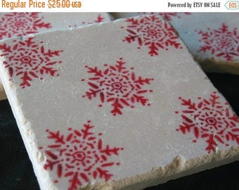 XMASINJULYSale Holiday Home Decor - Winter Red Snowflake Tile Coasters - Set of 4