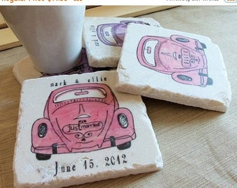 XMASINJULYSale Personalized Love Bug Tile Coasters - Custom Wedding Gift - Anniversary
