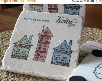 XMASINJULYSale Tile Coasters - Personalized New Home Gift - There is No Place Like Home - Housewarming