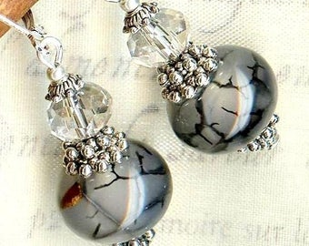 Earrings ❀AGATE 'dragon veins' and light Crystal OR178b
