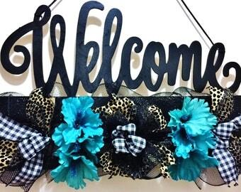 FREE SHIPPING Black Cheeta Leopard Blue White Floral  - Welcome Door Wreath Hanger