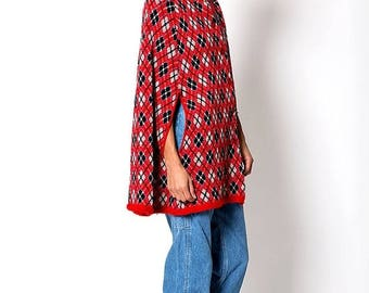 40% OFF CLEARANCE SALE The Vintage Red and Blue Plaid Cloak Poncho