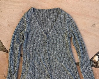 40% OFF The Vintage Chrome Silver Lurex Cardigan Sweater