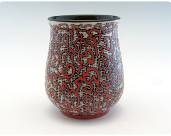 Etched Porcelain Tumbler With Calligraphic Design