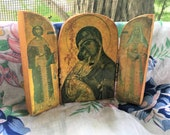 Vintage Wood Mary and Child Triptych Icon SALE!