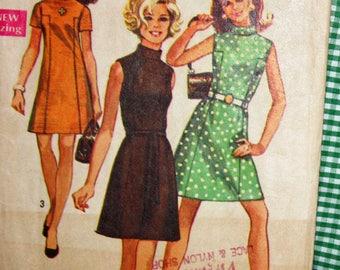 "Vintage 1960s Sewing Pattern, Simplicity 8588, Misses' Dress, Misses' Size 10, Bust 32 1/2"""