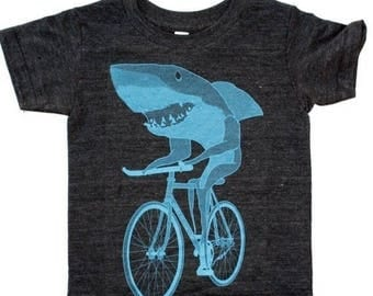 SUMMER SALE Shark on a Bicycle - Kids T Shirt, Children Tee, Tri Blend Tee, Handmade graphic tee, sizes 2-12