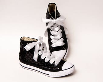 Kids - Youth - Black Sequin Converse Canvas Hi Tops Sneakers Tennis Shoes with Satin Ribbon Laces