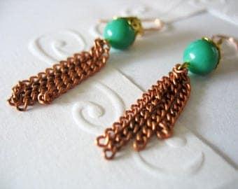 Tassel Earrings, Copper chain, Green Bead, Gold Filigree Cap, Dangle Earrings, Drop Earrings, Chains